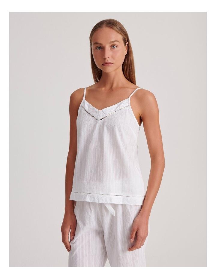 Seersucker Cami Sleepwear Top in Ivory image 1