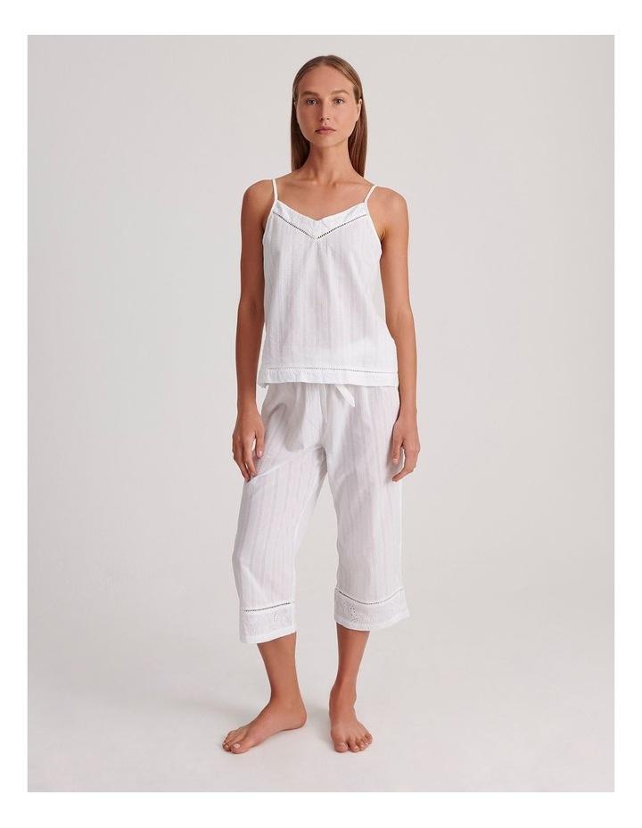 Seersucker Cami Sleepwear Top in Ivory image 2