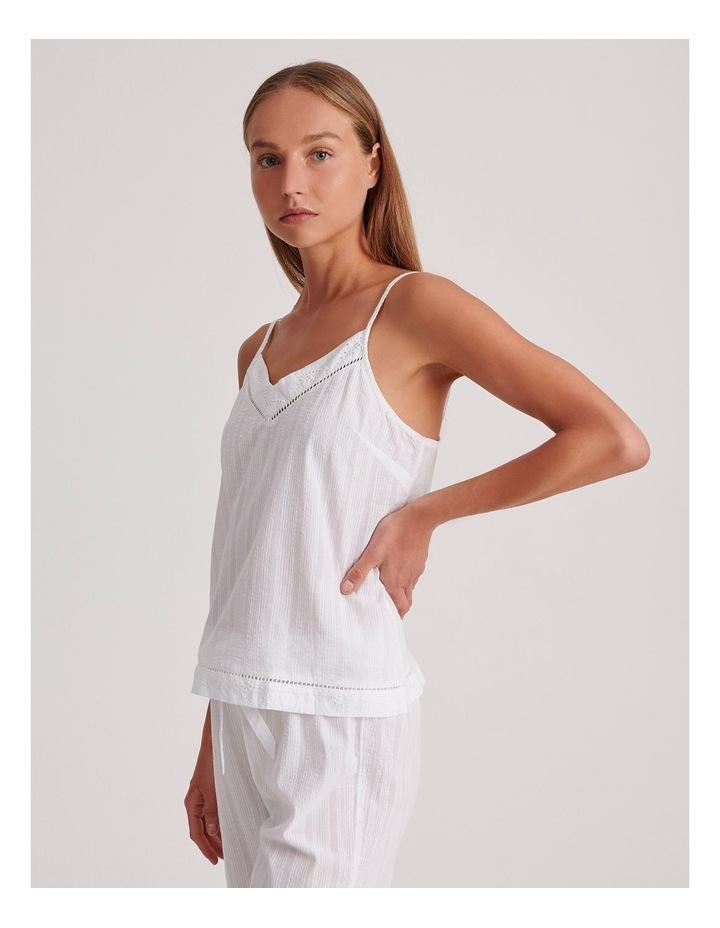 Seersucker Cami Sleepwear Top in Ivory image 3