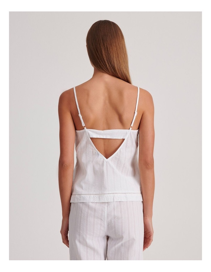 Seersucker Cami Sleepwear Top in Ivory image 4
