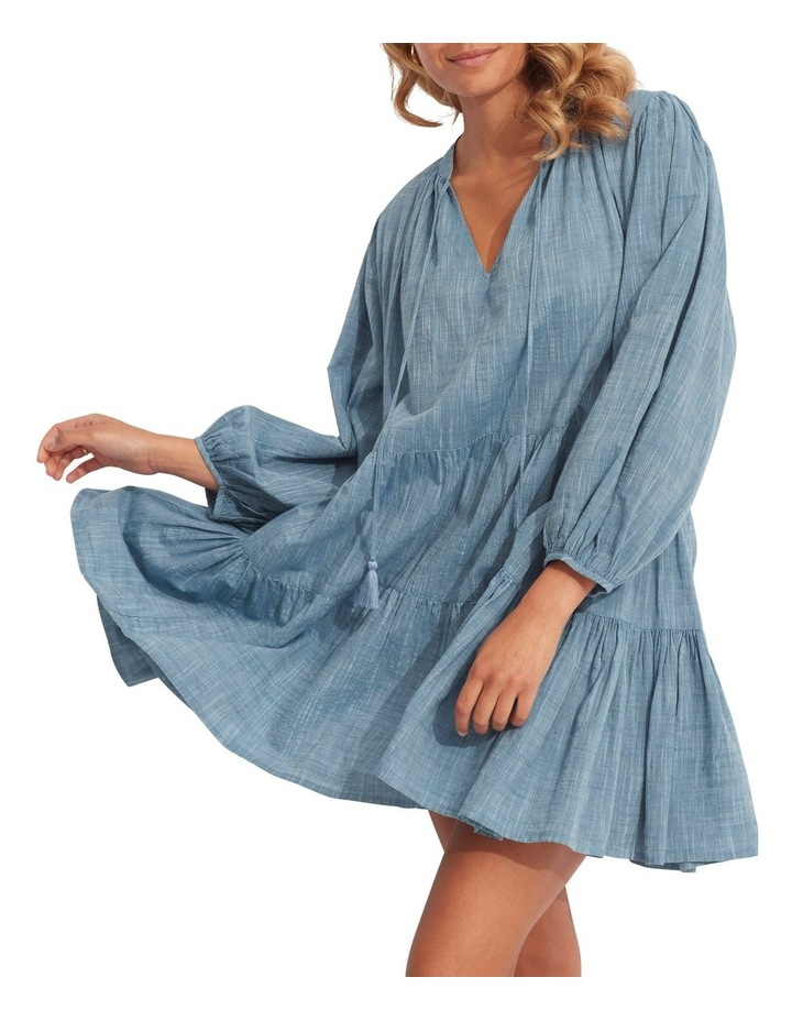 Embroidery Tiered Dress Chambray image 1