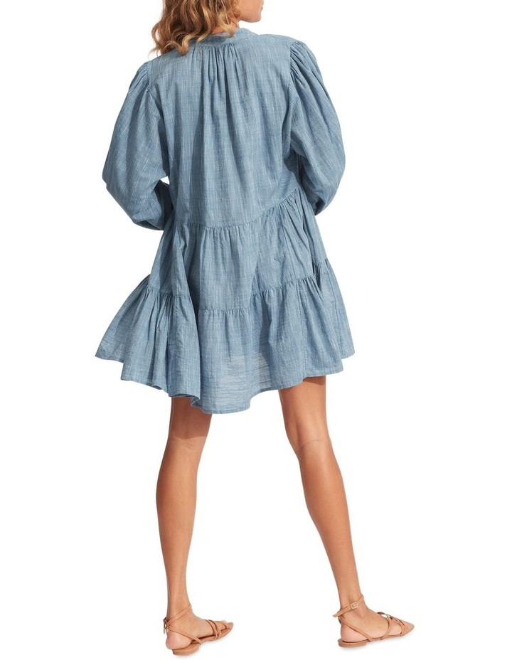 Embroidery Tiered Dress Chambray image 2
