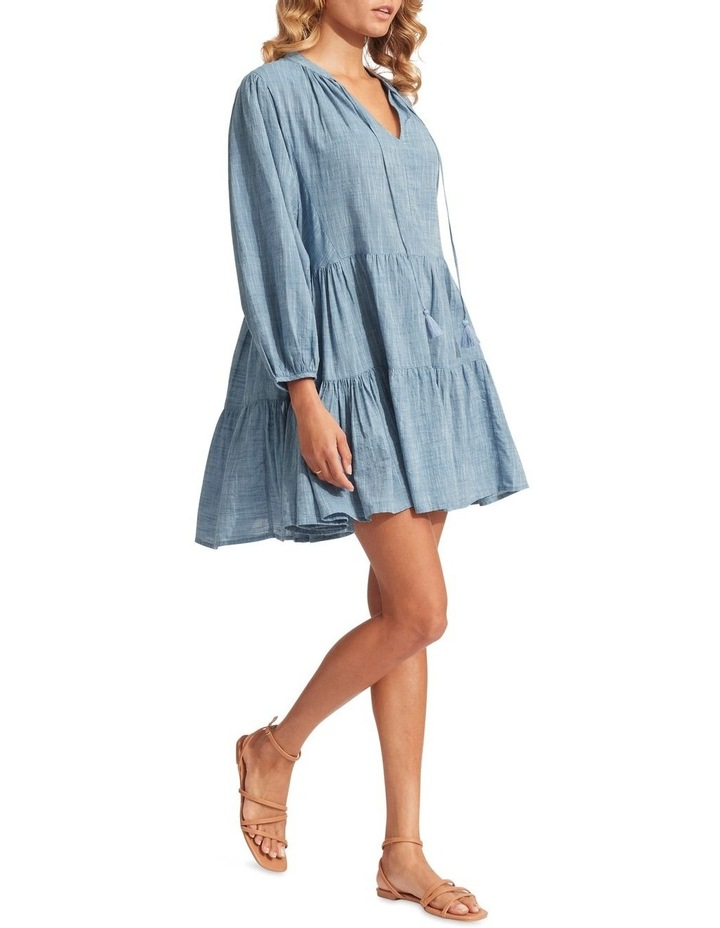 Embroidery Tiered Dress Chambray image 3