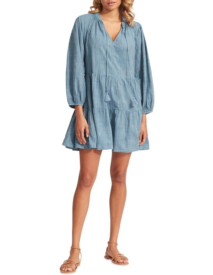 Embroidery Tiered Dress Chambray image 4