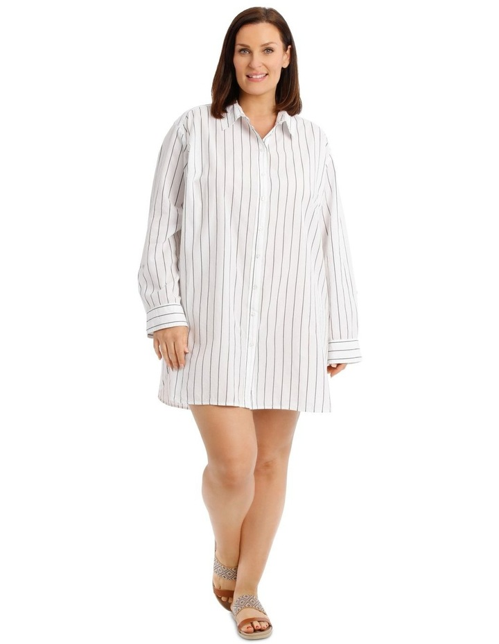 Over Sized Striped Yarn-Dye Shirt image 1