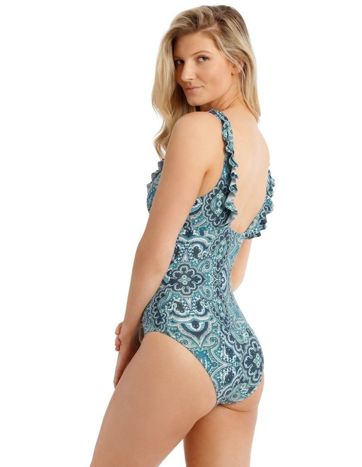 Emerald Oasis One Piece Plunge With Ruffle Solid image 2