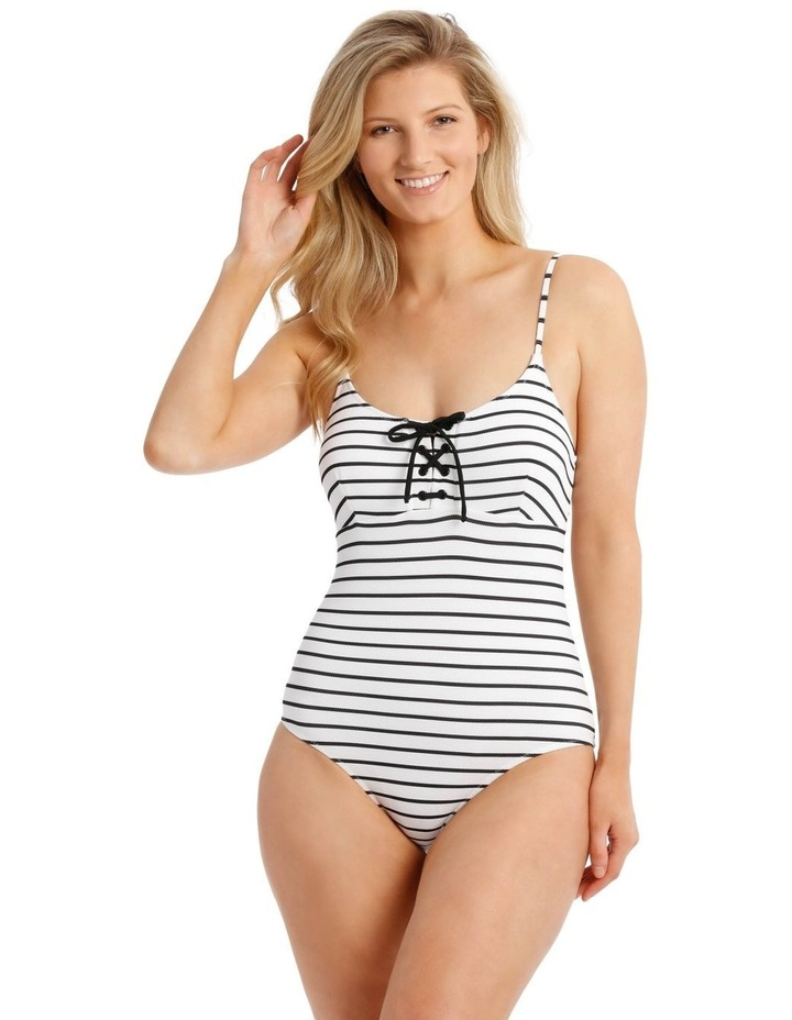 Emerald Oasis Stripe Textured One Piece Tie Front image 1