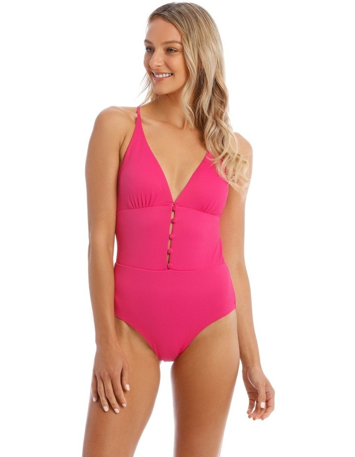 One Piece Swimsuit With Button Detail image 1