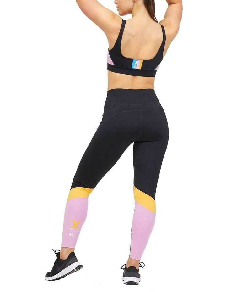 Panelled Full Length Legging Black/Lilac image 2