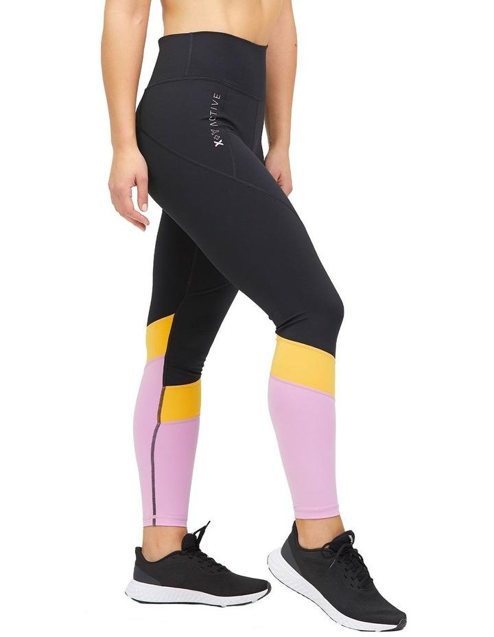 Panelled Full Length Legging Black/Lilac image 3