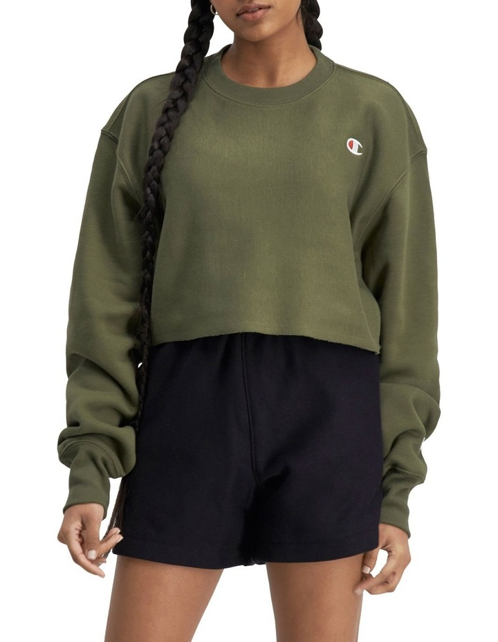 Life Reverse Weave Cropped Cut-Off Crew Sweater image 1