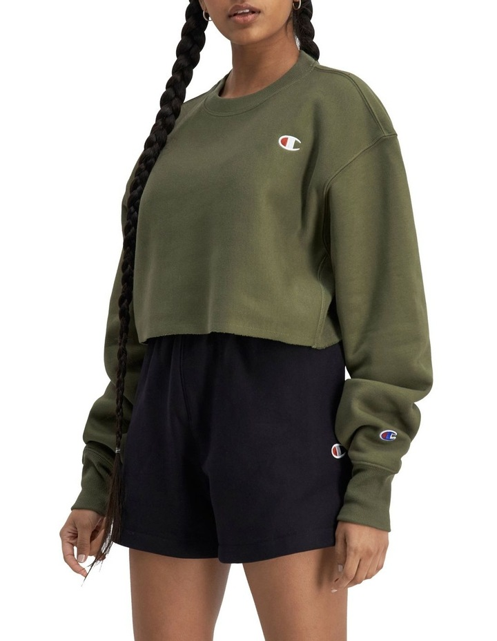 Life Reverse Weave Cropped Cut-Off Crew Sweater image 3