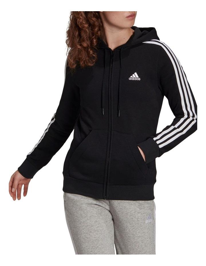 3 Stripe Black/White Fleece Full Zip Hoodie image 1