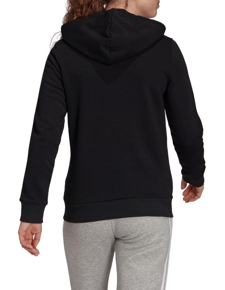 3 Stripe Black/White Fleece Full Zip Hoodie image 2