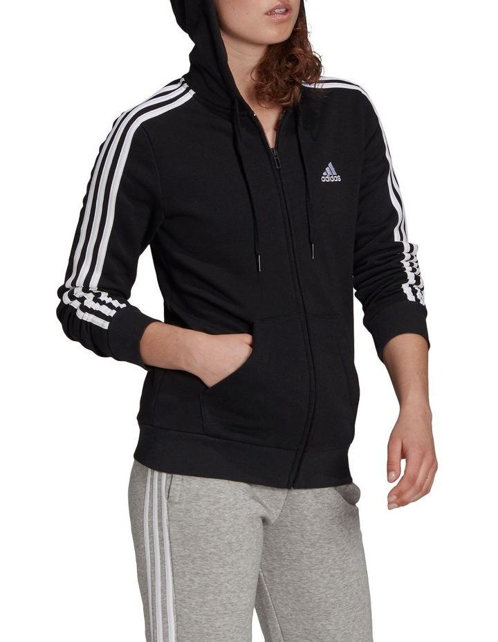 3 Stripe Black/White Fleece Full Zip Hoodie image 3