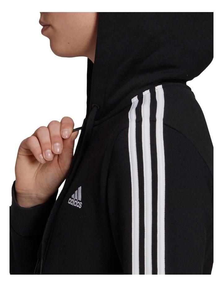 3 Stripe Black/White Fleece Full Zip Hoodie image 4
