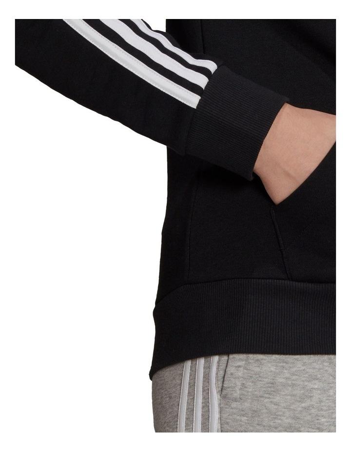 3 Stripe Black/White Fleece Full Zip Hoodie image 5