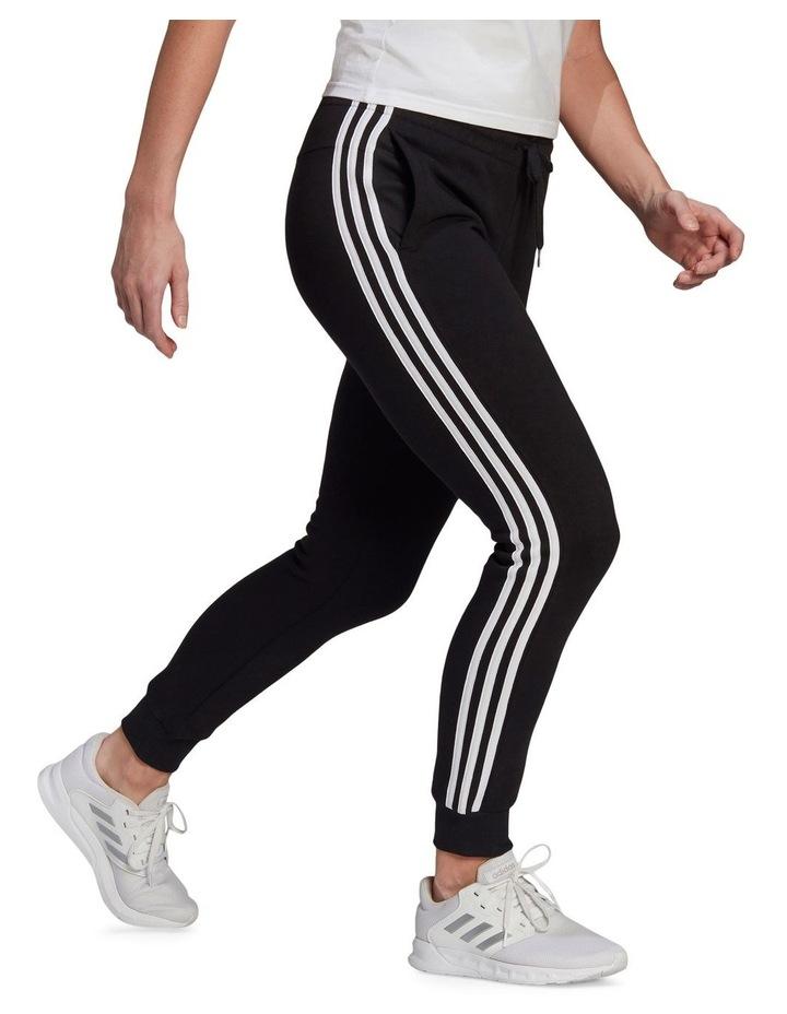3-Stripe Black/White Fleece Cuffed Pants image 3