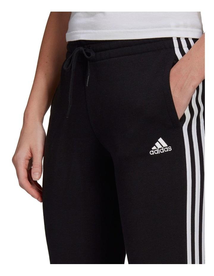 3-Stripe Black/White Fleece Cuffed Pants image 4