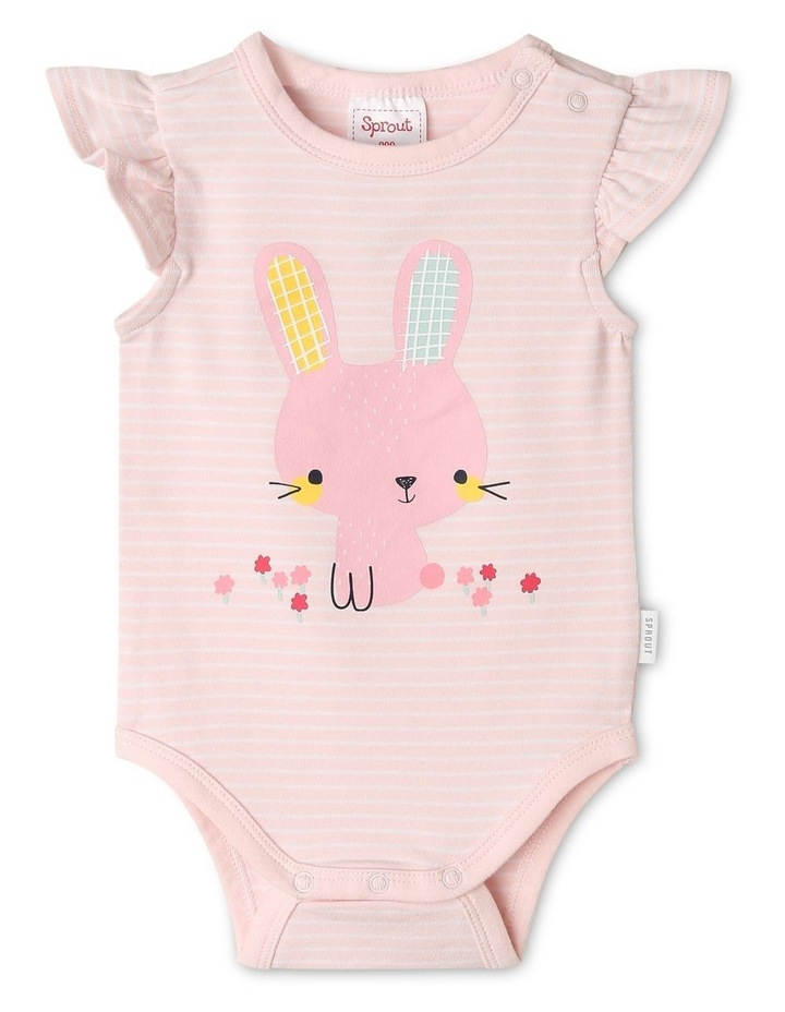 Organic Essential Stripe Bunny Bodysuit image 1