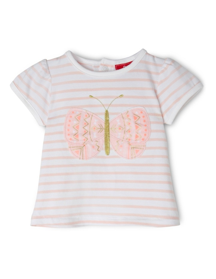Applique Cap Sleeve Top - Butterfly/Pink Stripe image 1