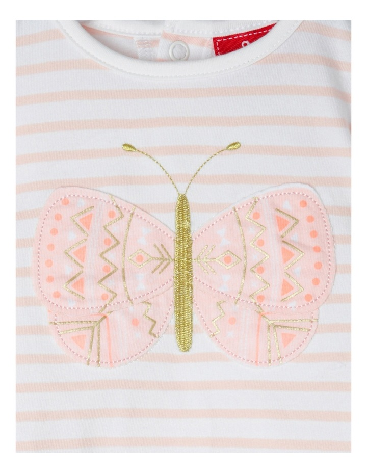 Applique Cap Sleeve Top - Butterfly/Pink Stripe image 3