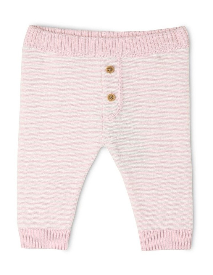 Organic Cotton Pink Striped Knitted Legging image 1