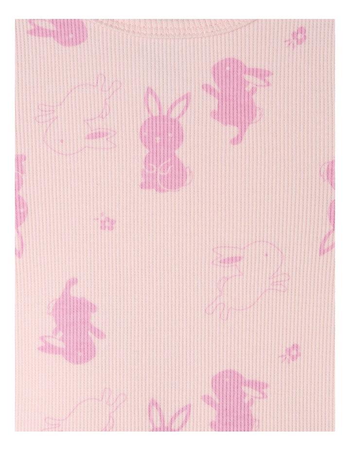 Short Sleeve Rib Bunny Print Top image 3
