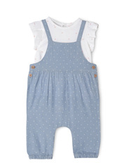 Girls Chambray Overall and Top Set