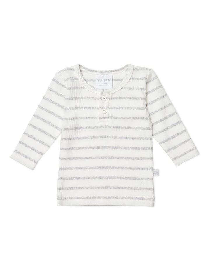 Grey Marle/Vanilla Stripe Long Sleeved Rib Top image 1