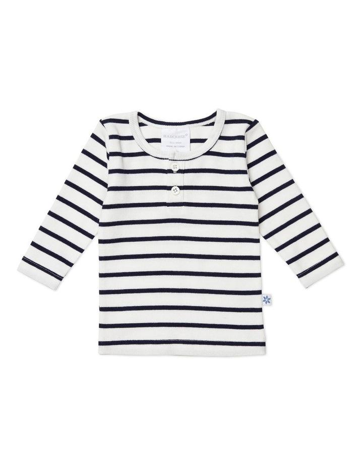 Vanilla/Night Blue Stripe Long Sleeved Rib Top image 1
