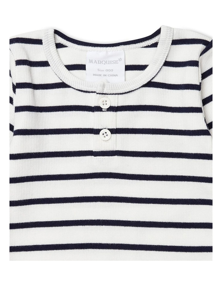 Vanilla/Night Blue Stripe Long Sleeved Rib Top image 2