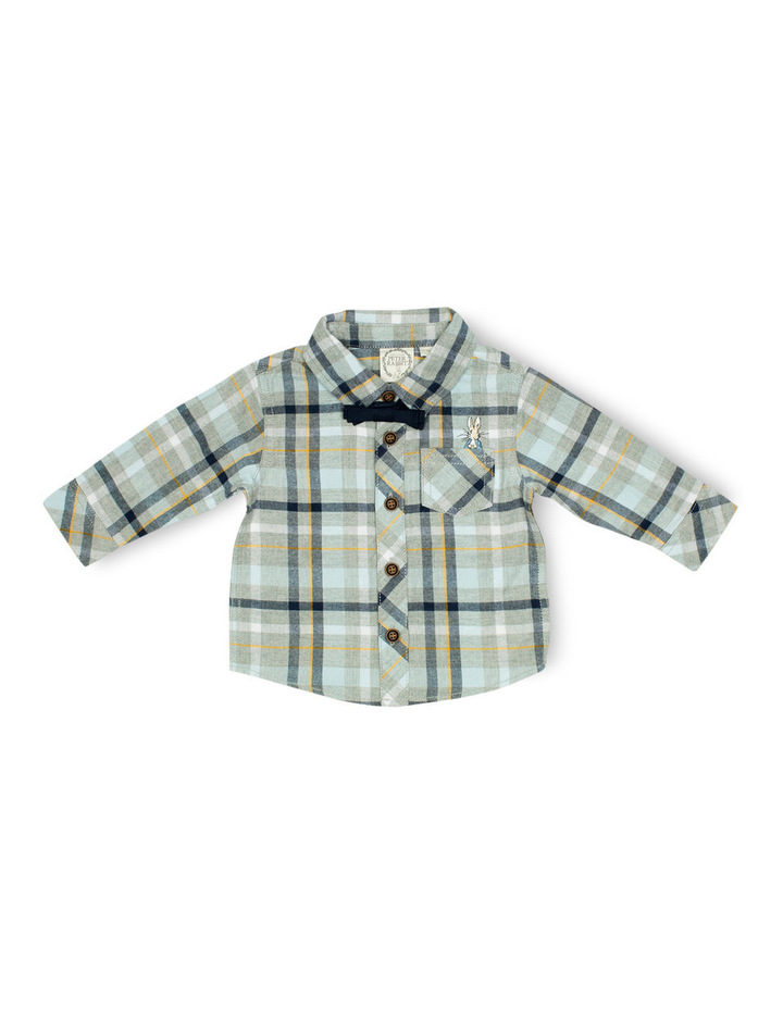 Boys Flannel Shirt With Bow Tie image 1