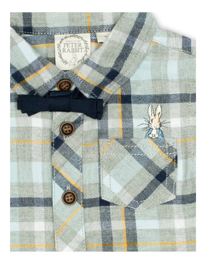 Boys Flannel Shirt With Bow Tie image 3