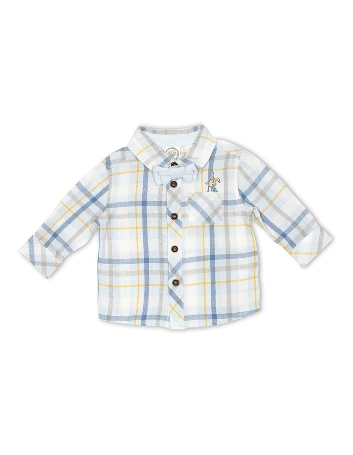 Cotton Check Shirt and Corduroy Bow Tie image 1