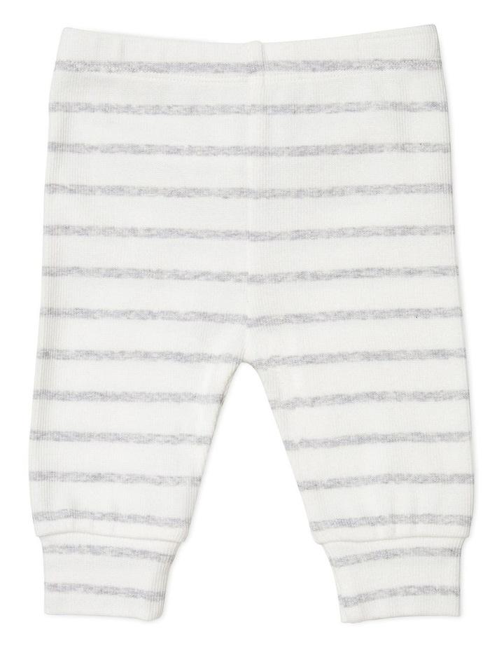 Grey Stripe Footless Rib Pants image 1