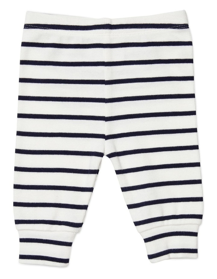 Navy Stripe Footless Rib Pants image 1