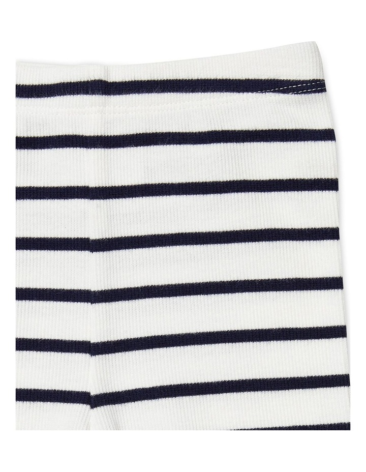 Navy Stripe Footless Rib Pants image 2
