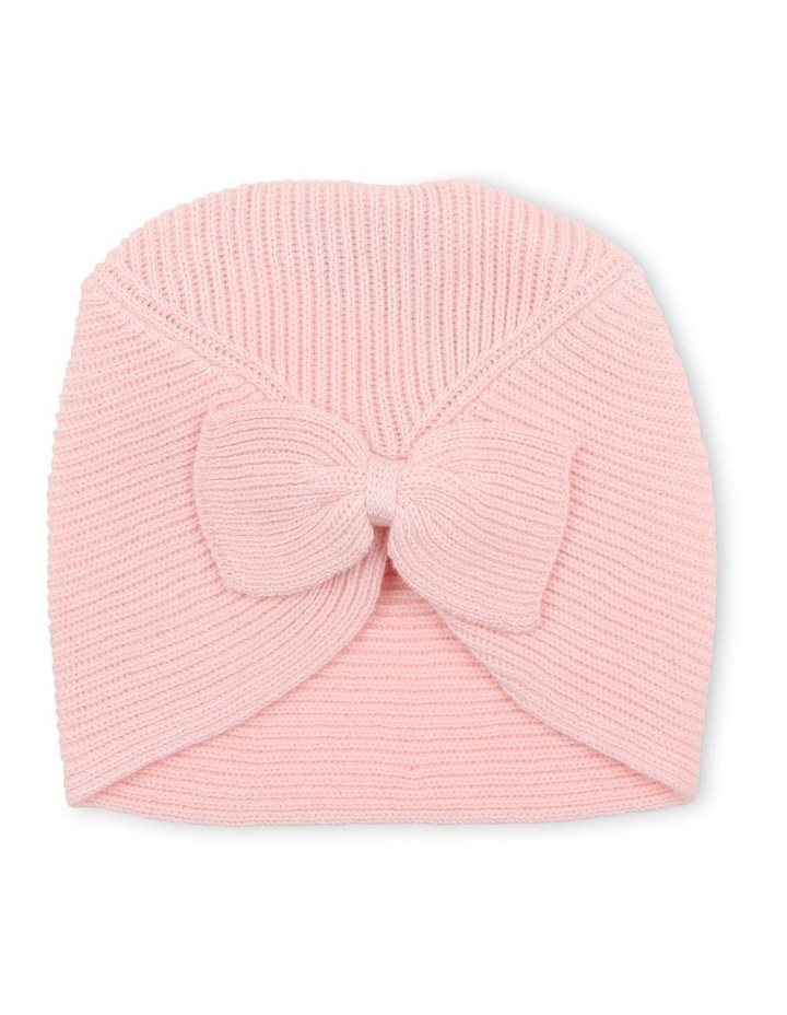 Layla Pale Pink Bow Knit Beanie image 1
