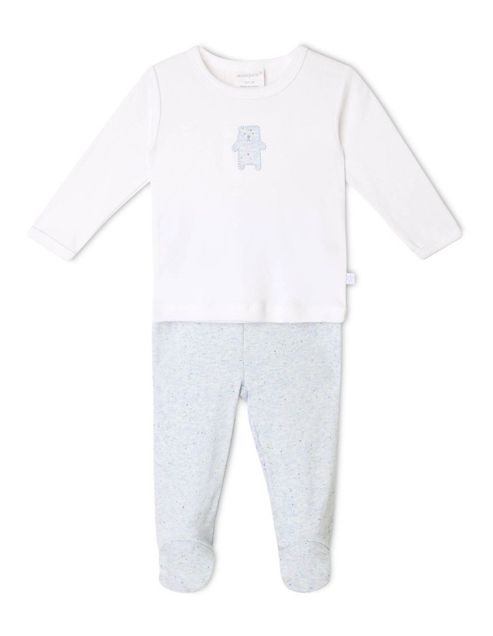 Long-Sleeve Bear T-Shirt with Footed Legging image 1