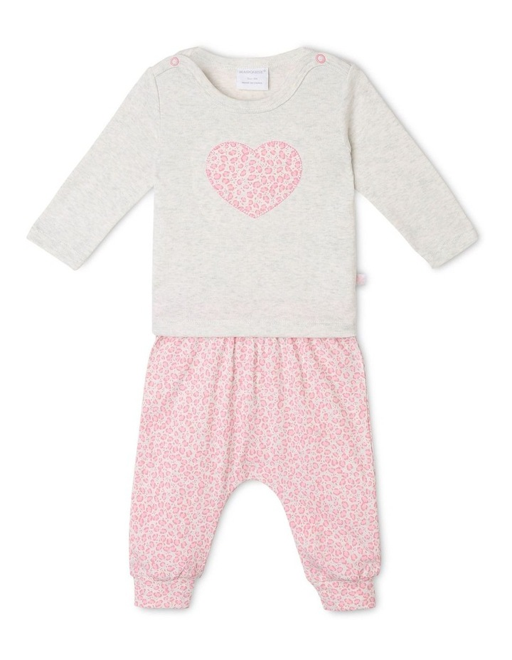 Heart Appliqu T-Shirt with Footless Pants image 1