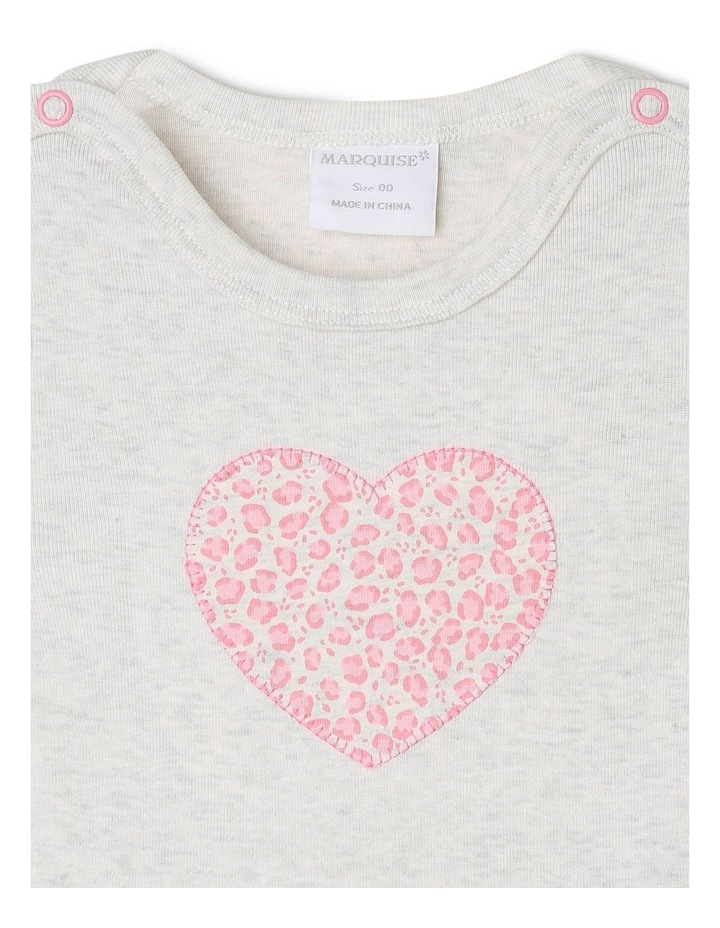 Heart Appliqu T-Shirt with Footless Pants image 2