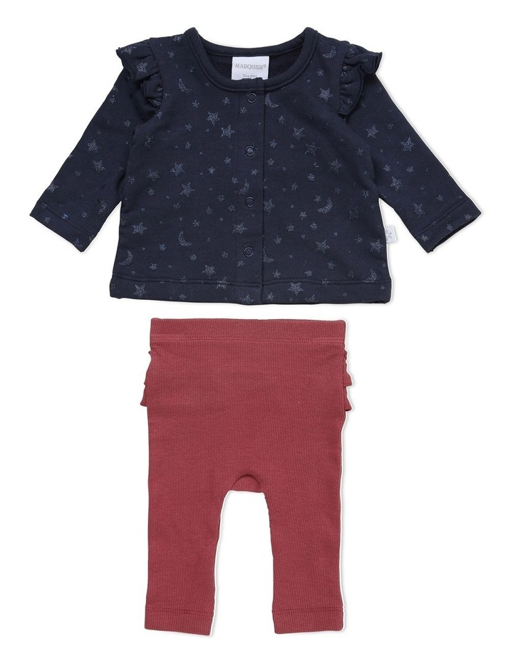 Star French Terry Top and Rib Legging Set in Navy image 1