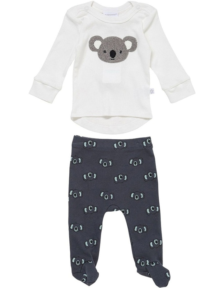 Koala Top and Footed Legging Set in Navy image 1