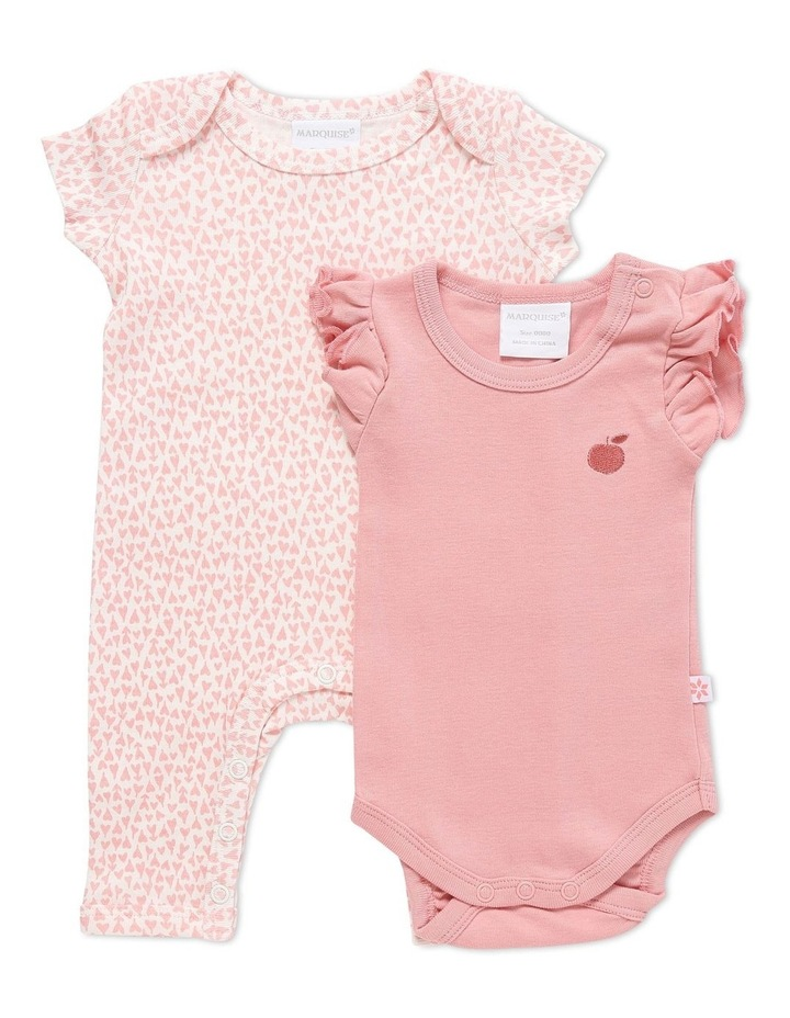 Short Sleeve Romper And Bodysuit Set 2 Pack Pink/Pink Heart image 1