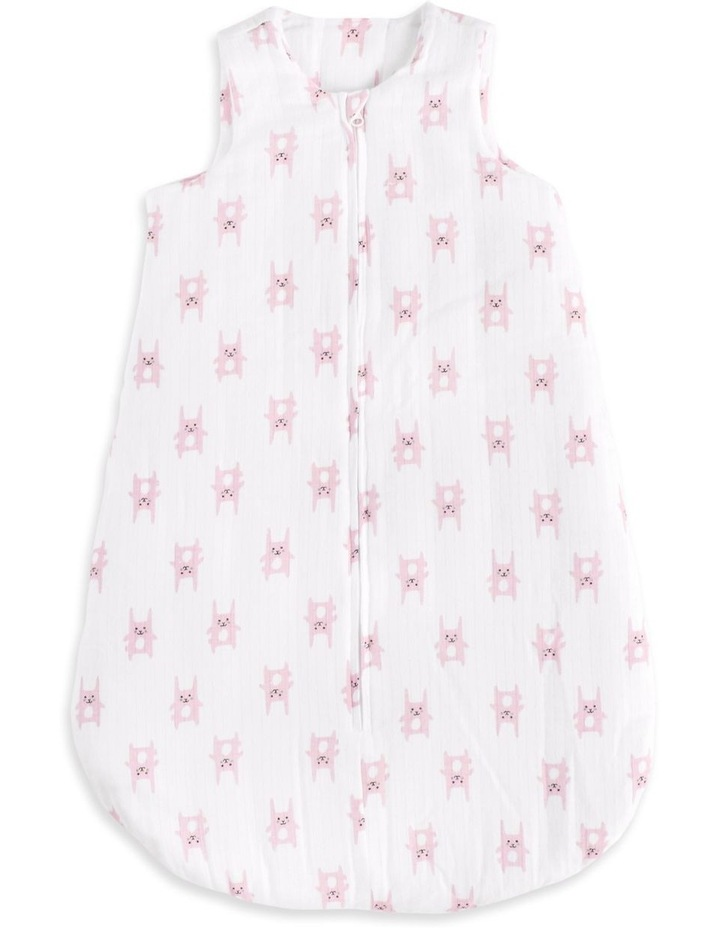 aden by aden   anais bunny pink brushed muslin 3.5 tog sleeping bag SMALL image 1