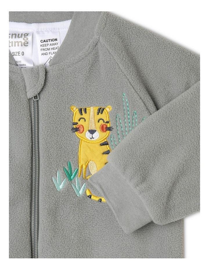 Lined Polar Fleece Blanket Sleeper Grey Tiger image 2