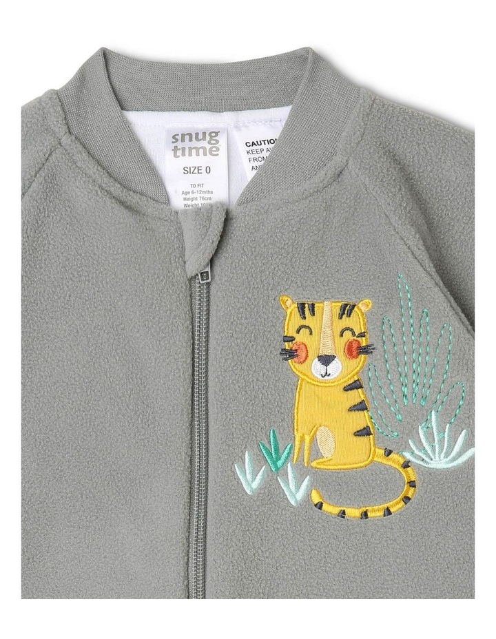 Lined Polar Fleece Blanket Sleeper Grey Tiger image 3
