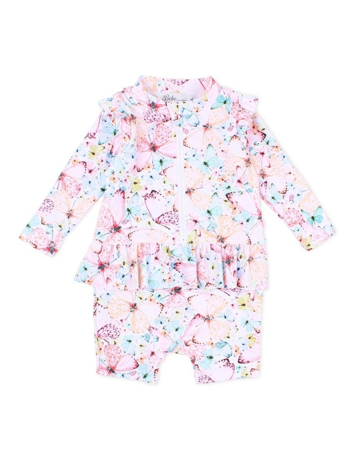 Aimie Long Sleeve Zip Sunsuit With Frills image 1