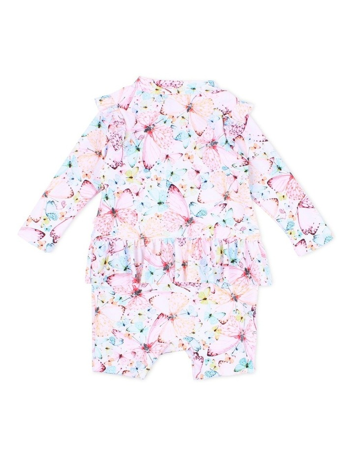 Aimie Long Sleeve Zip Sunsuit With Frills image 2